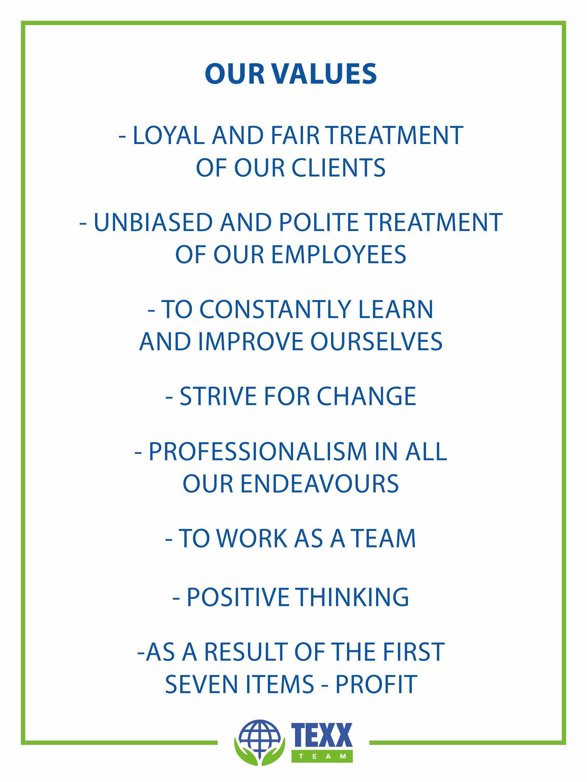 Texx Team Values